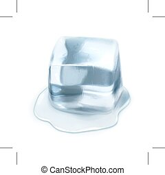 Ice cube illustration - Ice cube, isolated on white...