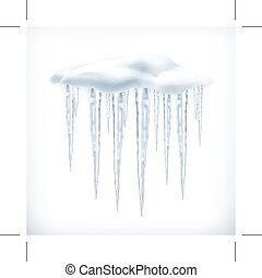 Icicles, vector illustration - Icicles, isolated on white...