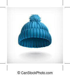 Blue knitted cap,  isolated on white background