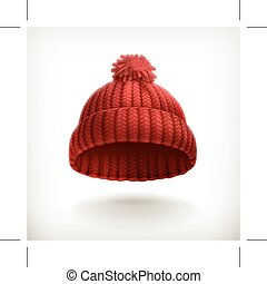 Red knitted cap, isolated on white background