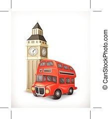 London Bus and Big Ben, isolated on white background