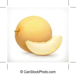 Fresh Melon icon - Fresh melon, icon, isolated on white...