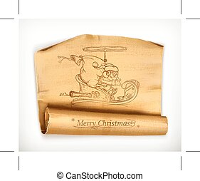 Merry Christmas old scroll, vector illustration, isolated on...