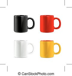 Multi colored cups - Set with multi colored cups, isolated...