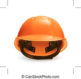 Orange hard hat, icon, isolated on white background