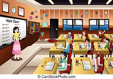Teacher Teaching Math in Classroom - A vector illustration...