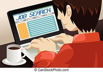 Man Searching for a Job Online - A vector illustration of a...