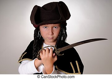 Pirate Boy - Boy Pirate isolated on black with a cutlass