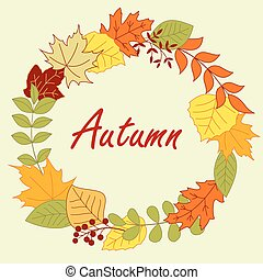Colorful autumnal leaves frame or wreath - Colorful autumnal...