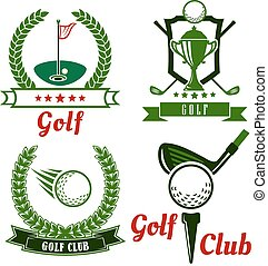Golf game icons, emblems and symbols