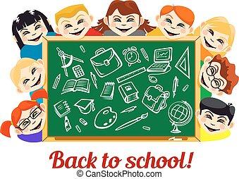 Children behind chalkboard with school supplies