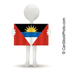 flag of Antiqua and Barbuda - small 3d man holding a flag of...