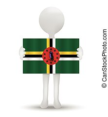 flag of Commonwealth of Dominica - small 3d man holding a...