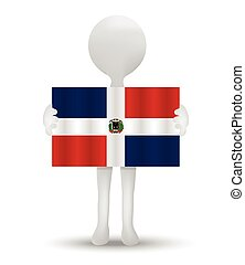 flag of Dominican Republic - small 3d man holding a flag of...