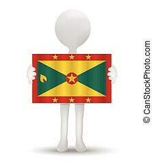 flag of Grenada - small 3d man holding a flag of Grenada