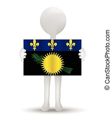 flag of Region of Guadeloupe - small 3d man holding a flag...