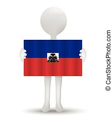 Haiti - small 3d man holding a flag of Republic of Haiti