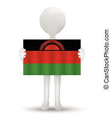 Republic of Malawi - small 3d man holding a flag of Republic...
