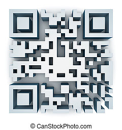 QR Code , 3d rendered image.