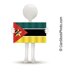 Mozambique - small 3d man holding a flag of Republic of...