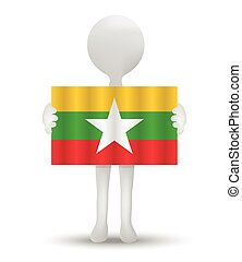 Myanmar Burma - small 3d man holding a flag of Republic of...
