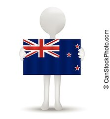 New Zealand - small 3d man holding a flag of New Zealand