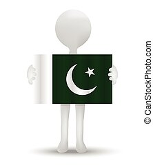 Pakistan - small 3d man holding a flag of Islamic Republic...