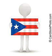 Puerto Rico - small 3d man holding a flag of Freely...
