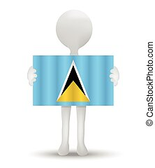 Saint Lucia - small 3d man holding a flag of Saint Lucia