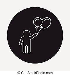 tourist with balloon icon