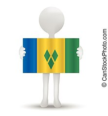 Saint Vincent and the Grenadines - small 3d man holding a...