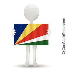 Seychelles - small 3d man holding a flag of Republic of...