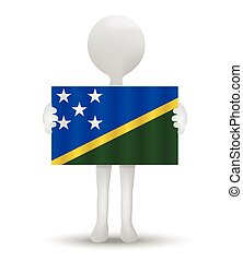 Solomon Islands - small 3d man holding a flag of Solomon...