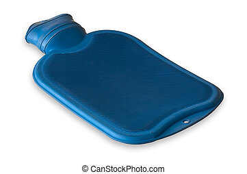 Hot water bottle - Blue hot water bottle isolated on a white...