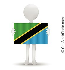 Tanzania - small 3d man holding a flag of United Republic of...