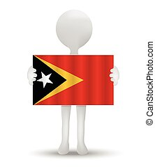 Timor-Leste - small 3d man holding a flag of Democratic...