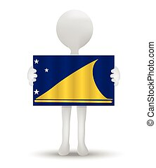 Tokelau - small 3d man holding a flag of Tokelau