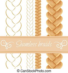 Hair braided isolated on white. Seamless three strand french...