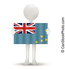 Tuvalu - small 3d man holding a flag of Tuvalu