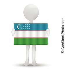 Uzbekistan - small 3d man holding a flag of Republic of...