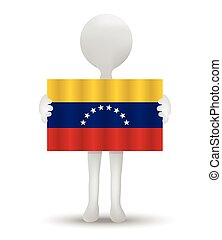 Venezuela - small 3d man holding a flag of Bolivarian...