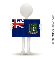 British Virgin Islands - small 3d man holding a flag of...