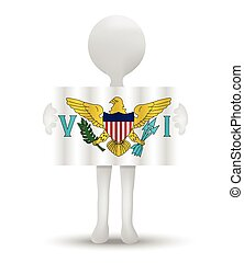 United States Virgin Islands - small 3d man holding a flag...