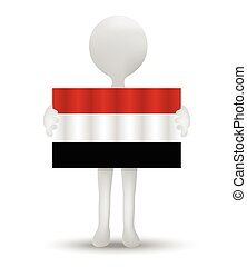 Yemen - small 3d man holding a flag of Republic of Yemen