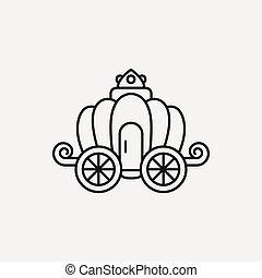 carruaje, línea, icono
