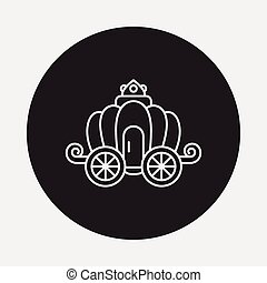 carruaje, línea, icono,