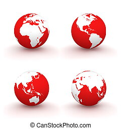 3D Globes in White and Red