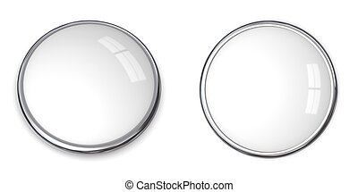 3D Button Solid White - 3D button in solid white, front and...