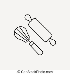 Rolling pin line icon