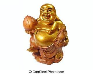 Buddha - Smiling buddha budai statue over white background